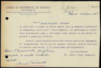 Adele Cappelli VegniBiglietto alla ditta Ricordi – Milano